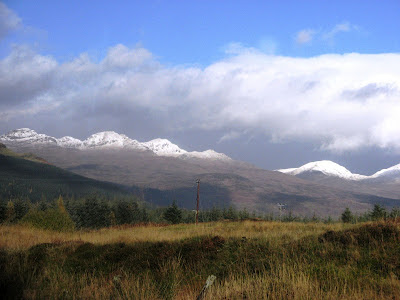 Mountains covered with snow in the high lands of Scotland - UK