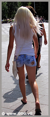 Girl in mini shorts on the street