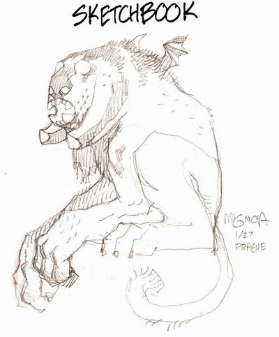 Mignola's sketch, bonus in Hellboy Pemier Edition