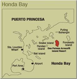 HONDA BAY PUERTO PRINCESA, honda bay map, honda bay island hopping, snake island palawan, puerto princesa islands