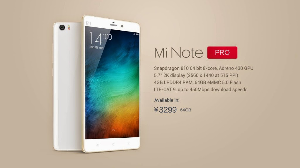 Spesifikasi Xiaomi Mi Note dan Mi Note Pro