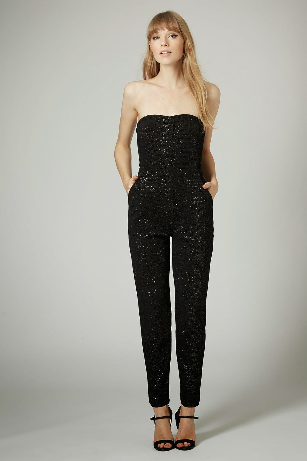 black glitter jumpsuit, sleeveless jumpsuit,