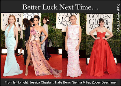 Female Celebrities-Golden Globes-2013-Red Carpet-Jessica Chastain-Halle Berry-Sienna Miller-Zooey Deschanel-Sexy Celebrities