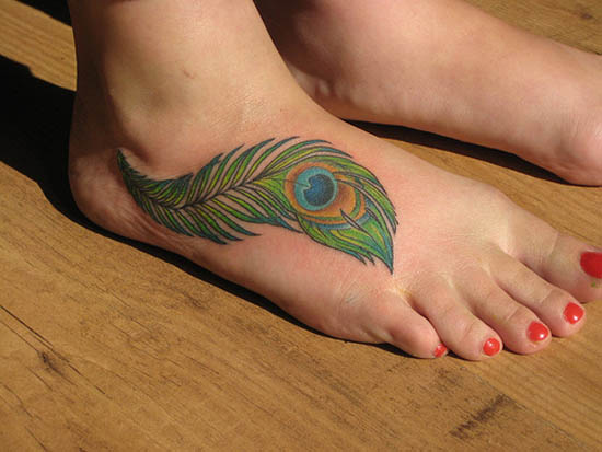 Peacock Enkley Tattoo on Foot Best Tattoos Collection