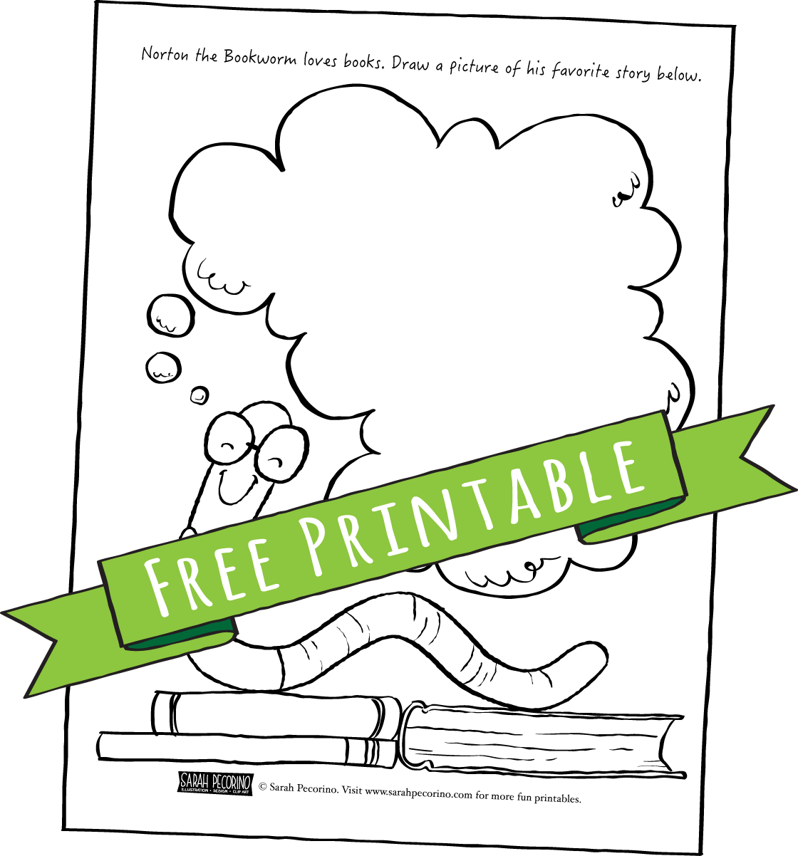 Bookworm coloring pages