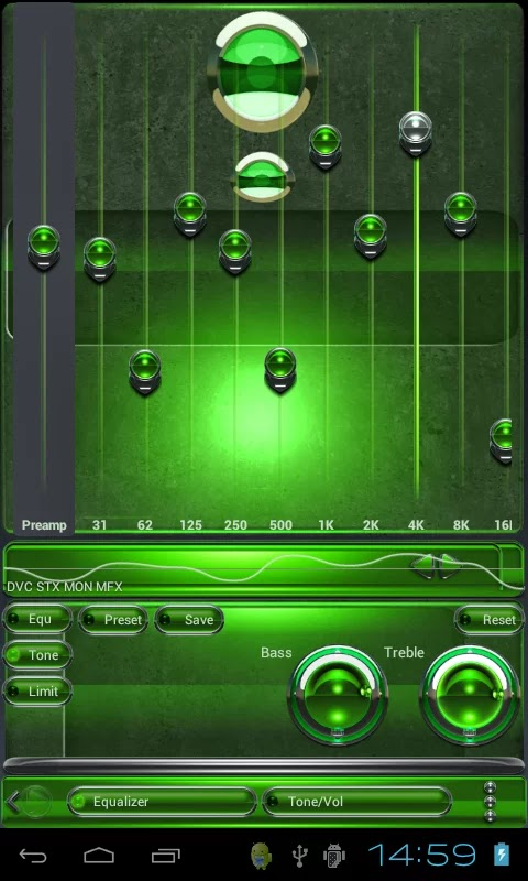Smartphone games and applications - Android: Green Deluxe HD Poweramp skin v1.40