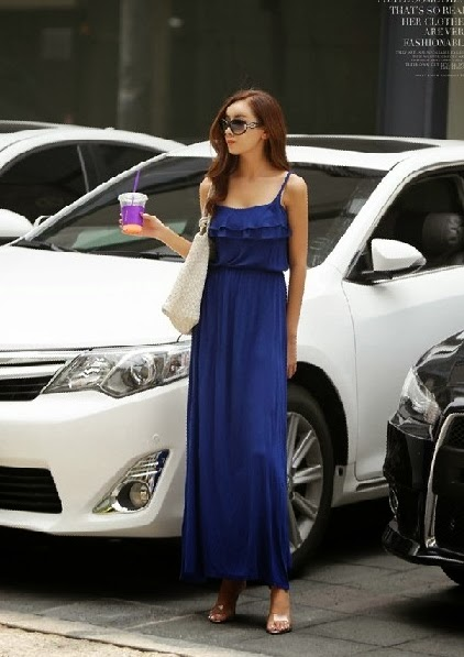 Baju: Long Dress Biru Jumbai