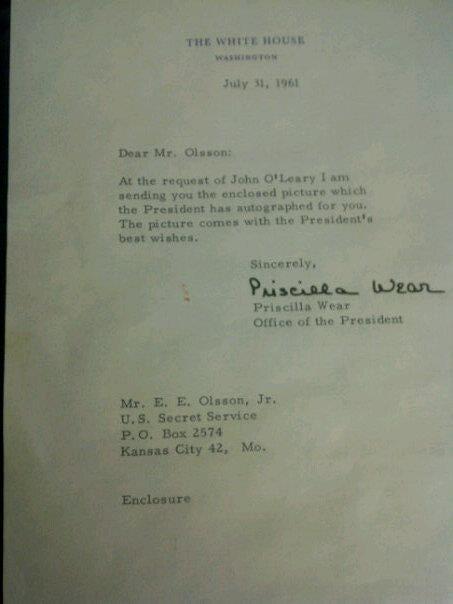 Letter to SA Ernest Olsson