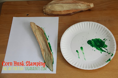 Corn Husk Stamping: Fall Art for kids