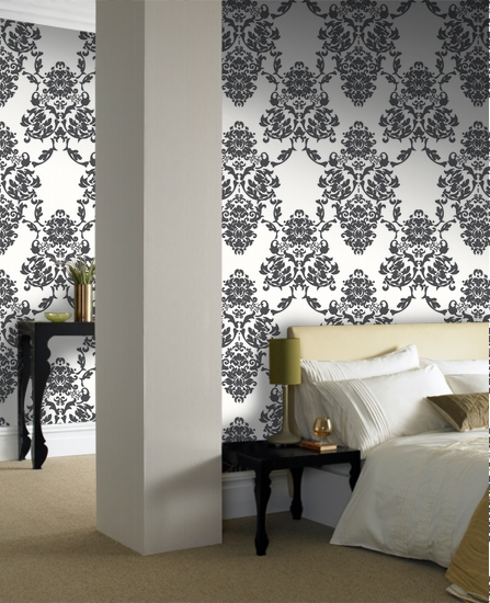 interior bedroom decorating with damask wallpaper designs. Black Bedroom Furniture Sets. Home Design Ideas