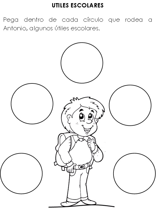 Crea, vive y sueña: utiles escolares para colorear
