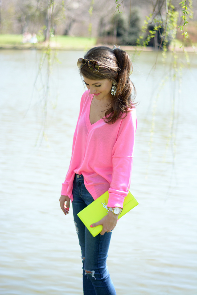 cute neon pink sweater