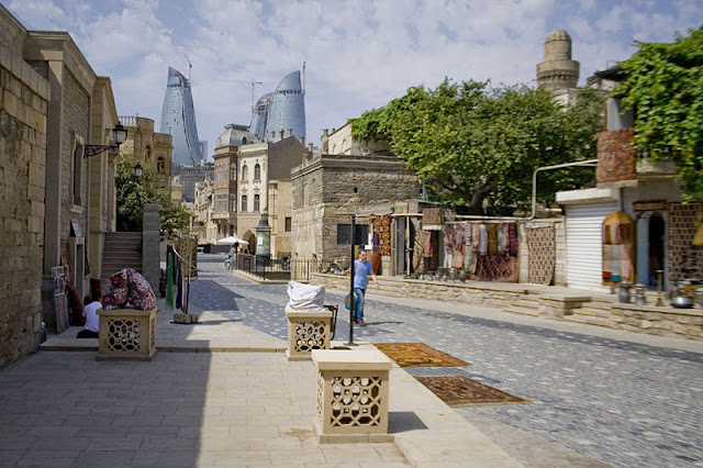 Old Baku City on the background of modern Flame Towers -Eurovision 2012 Baku, Azerbaijan