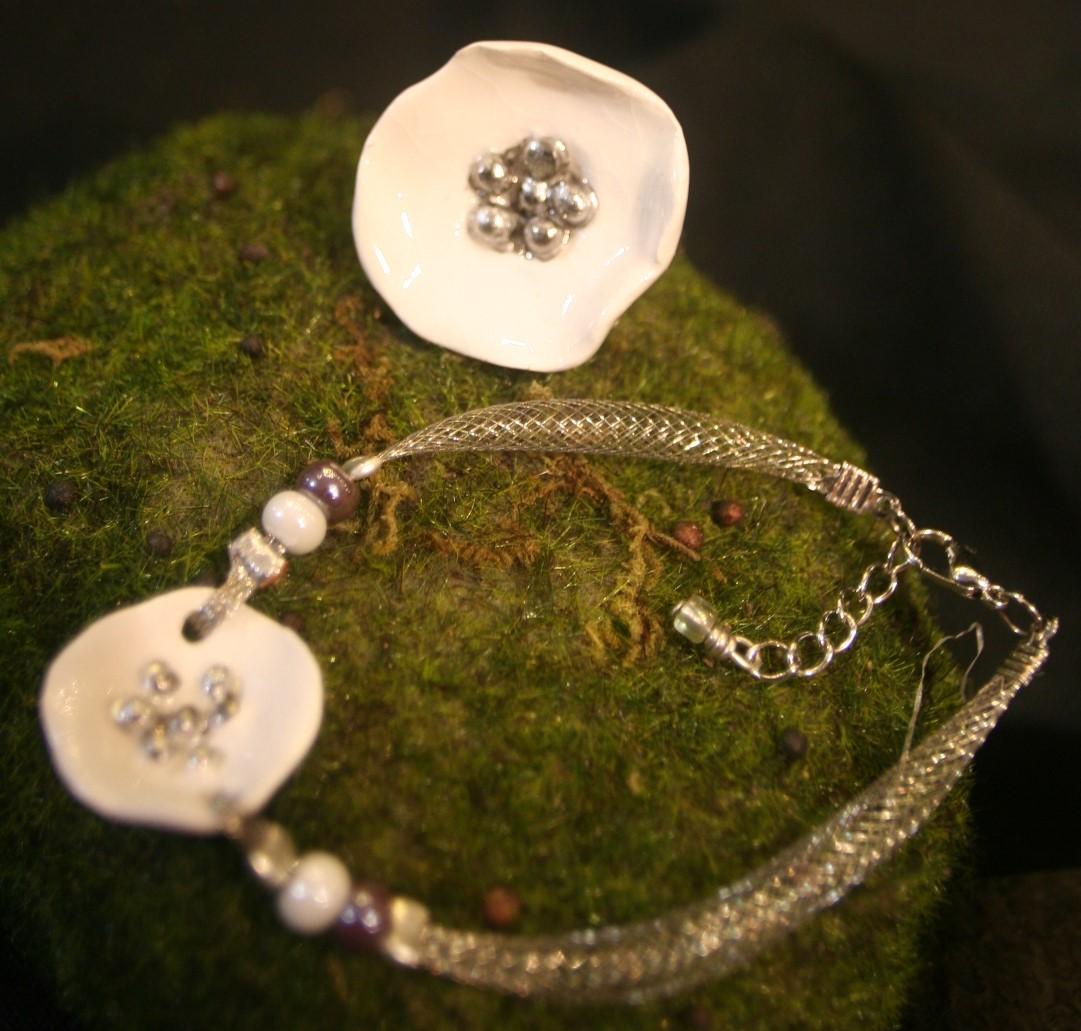 bijoux porcelaine décor platine
