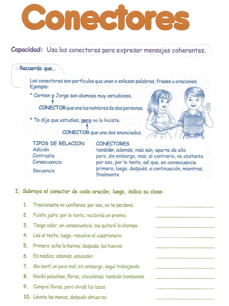 Conectores para niños 4° Grado Primaria | Razonamiento Verbal