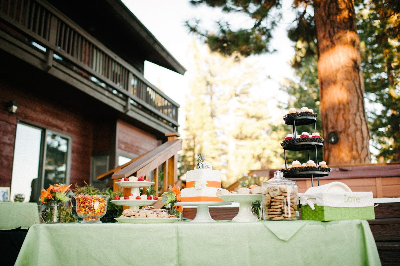 Sage and orange wedding dessert bar // Acres of Hope Photography // Take the Cake Event Planning