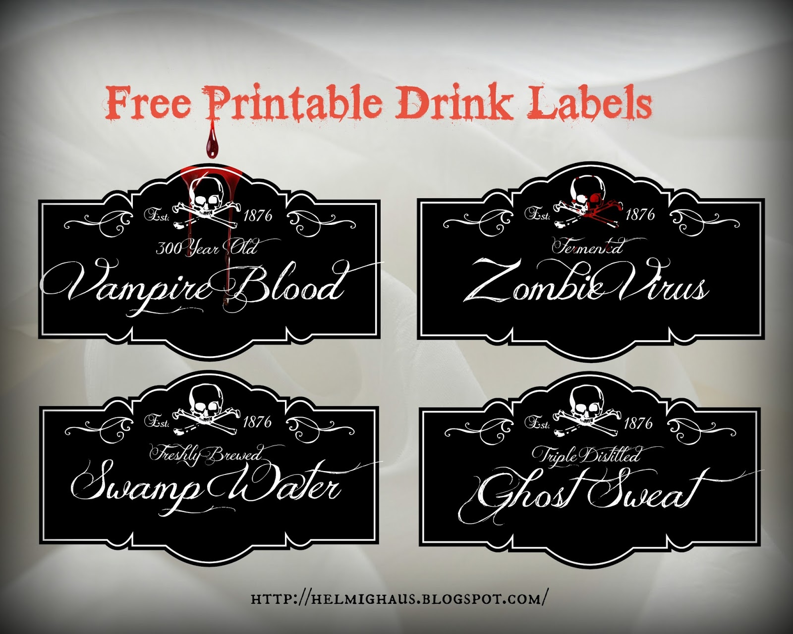 Free Halloween printable drink labels via Helmig Haus    http://helmighaus.blogspot.com/