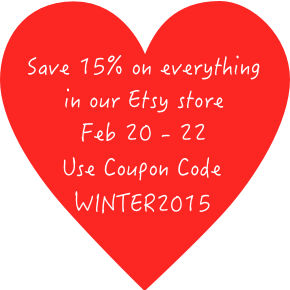 Save 15% in our Etsy store!