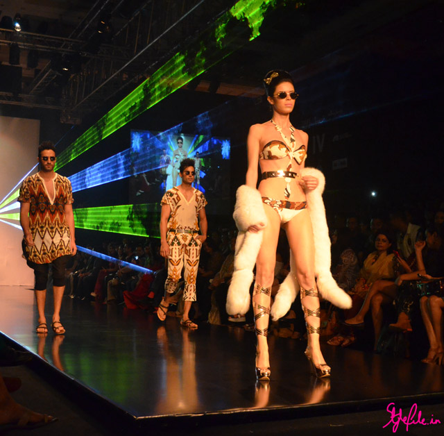 earthy tones abstract bikini fur menswear for pria kataria puri at lakme fashion week 2013