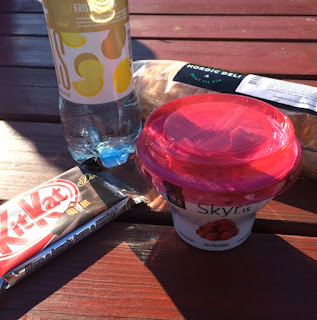 skyr, deli sandwich and kitkat