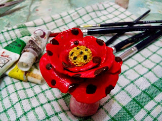 Paper_clay_flower_red_cute_art_handmade