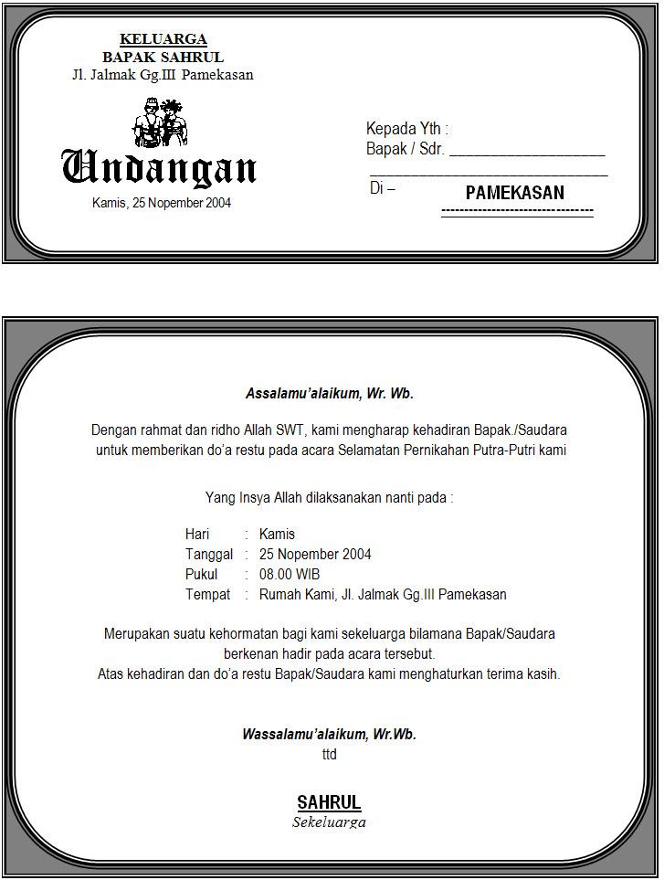 Info Desain Contoh Undangan Pernikahan