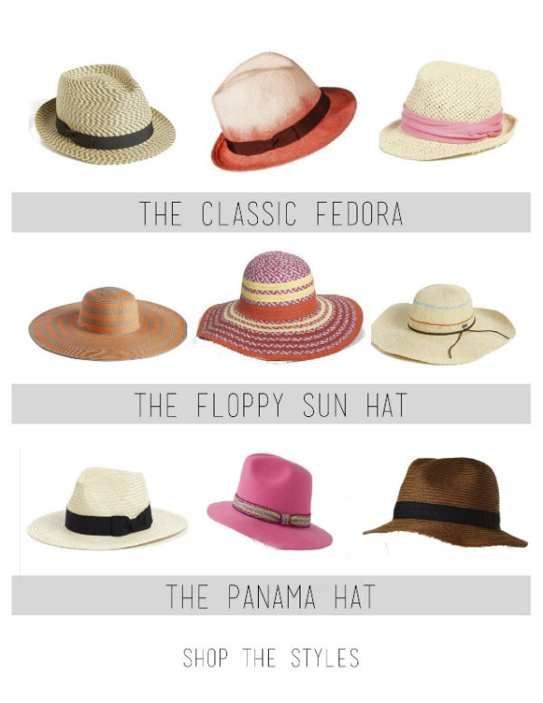 summer hat guide, top 3 hat styles, fedora, floppy sun hat, panama hat