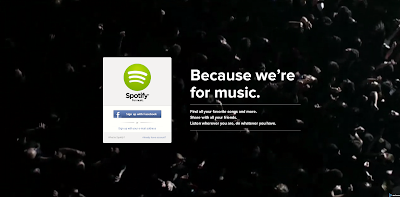 Screen Capture of Spotify.com