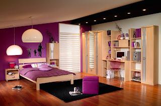habitación juvenil morada