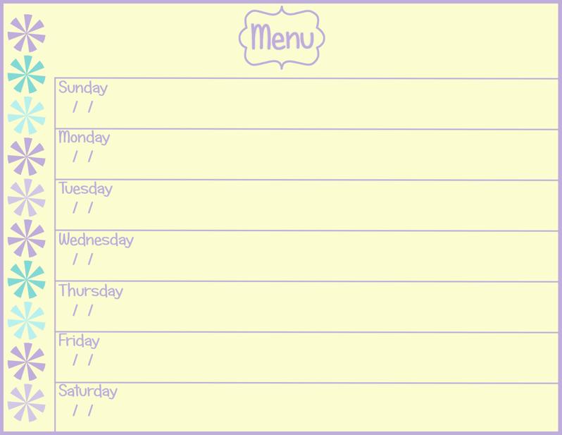 Printable Weekly Menu Planner   New Calendar Template Site