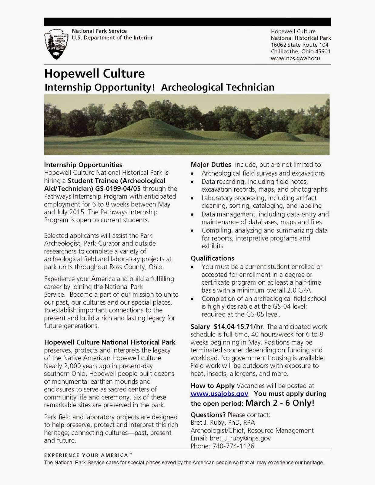 Hopewell Culture Internship Opportunity! Archaeological Technician