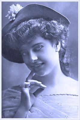 dama vintage tonos azules