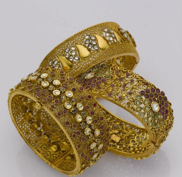 Latest Broad Gold Bangle Designs