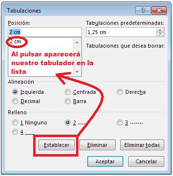 Establecer tabulador Word 2013