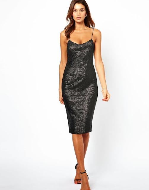 black sequin strap dress