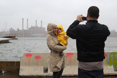 Family poses for Hurricane Sandy photo