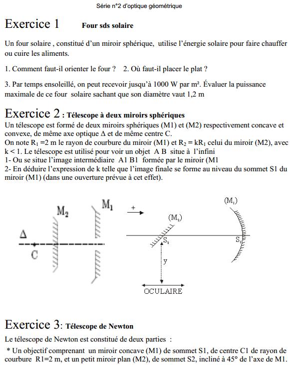 Exercices Optique géométrique