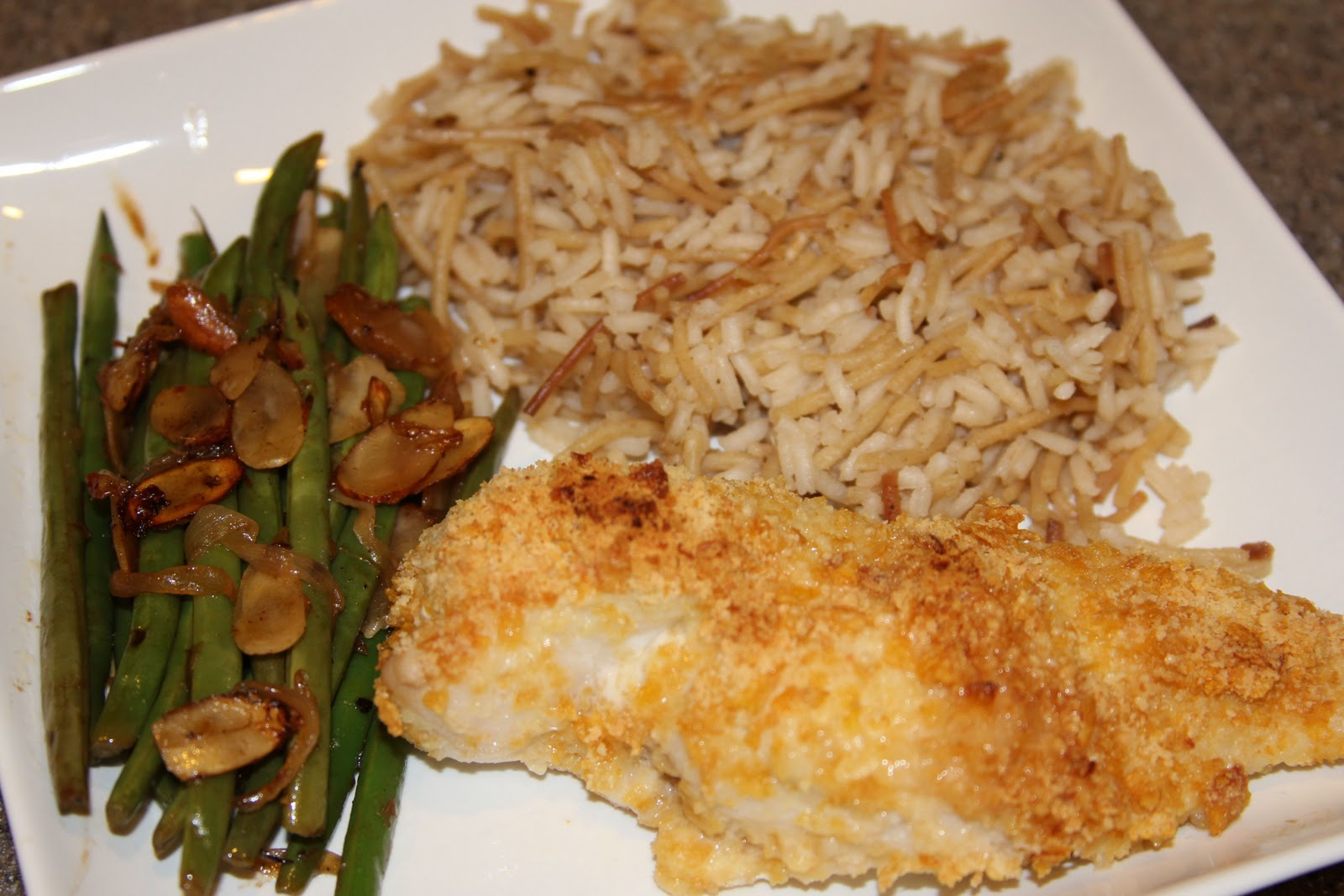 Baked Crispy Chicken, Rice Pilaf, and Green Beans YUM ...