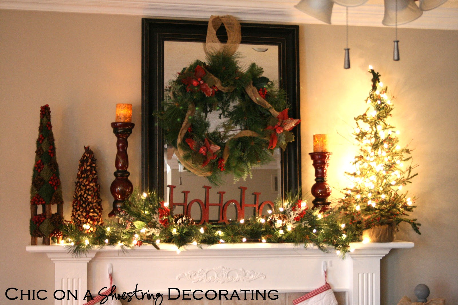 Chic on a shoestring decorating rustic christmas mantel for Home christmas decorations ideas