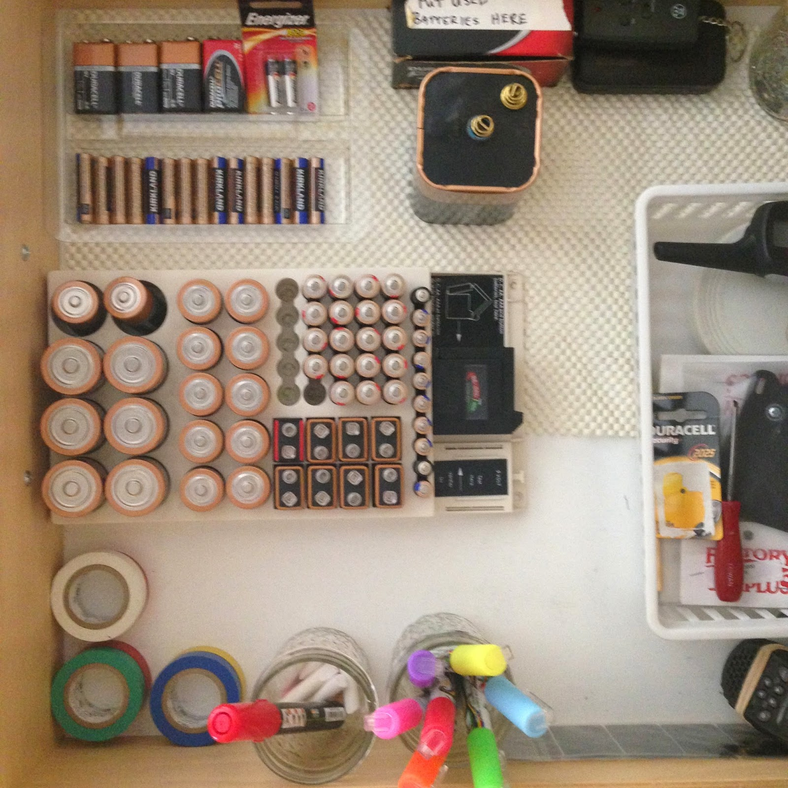 Organized battery storage in the drawer :: OrganizingMadeFun.com