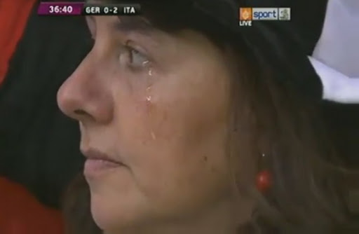 This clip of crying fan was actually recorded during the German anthem