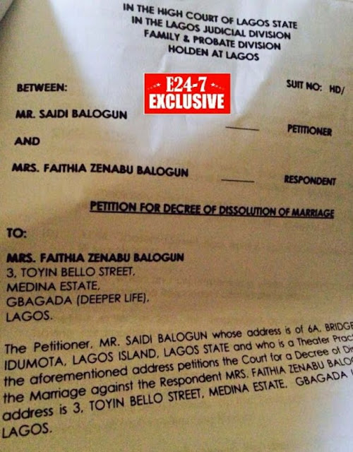fathia balogun divorce document