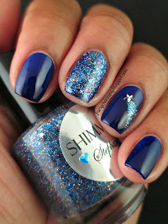 Shimmer Polish, Stephanie, simple, glitter, glitter bomb, swatch, blue, royal blue, shooting star, nails, nail art, nail design, mani