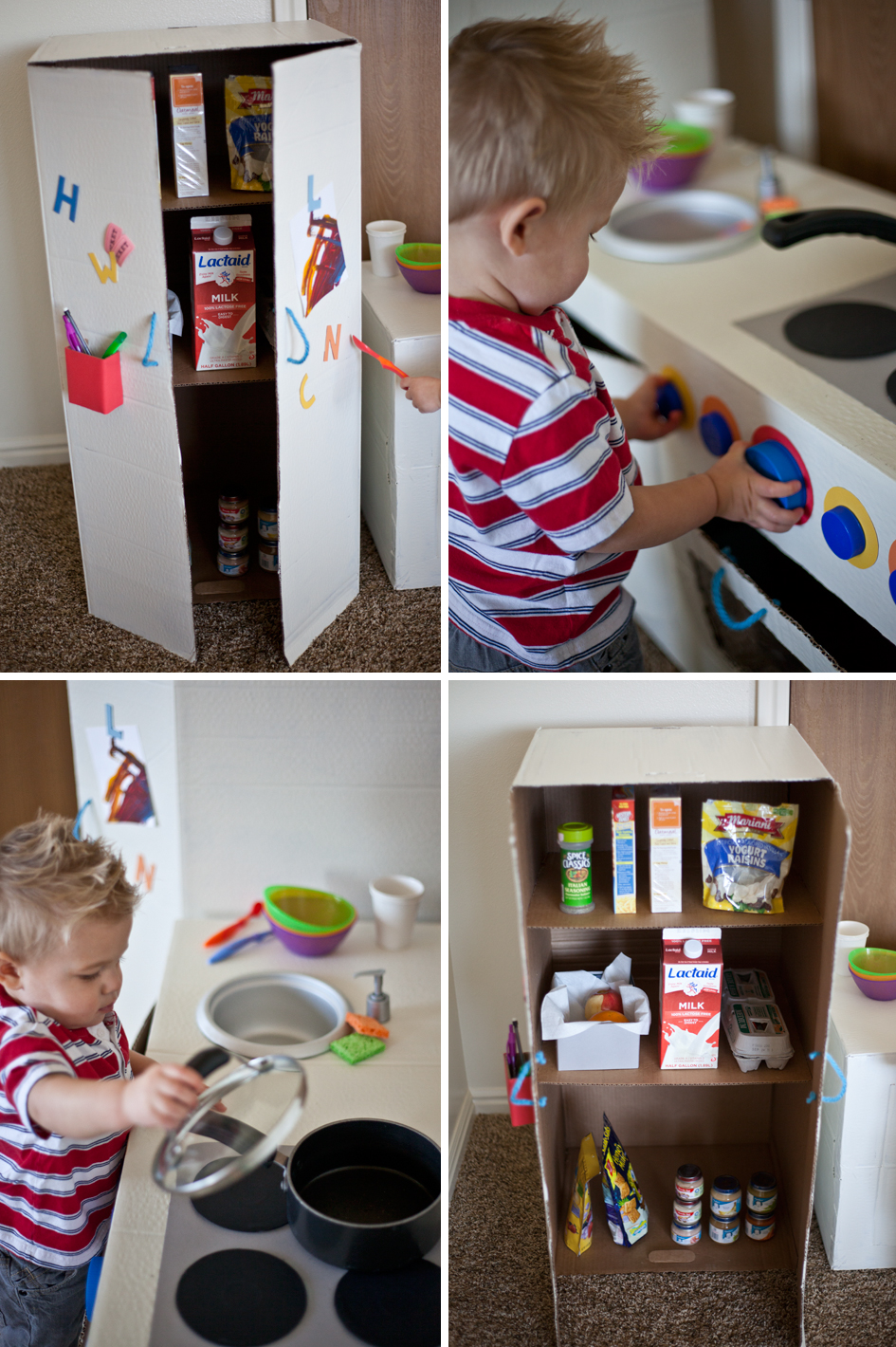 The Winns Play Kitchen From Cardboard Boxes