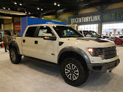 Ford F150 Raptor. It has an off road tuned suspension and a 6.2 liter V8 .