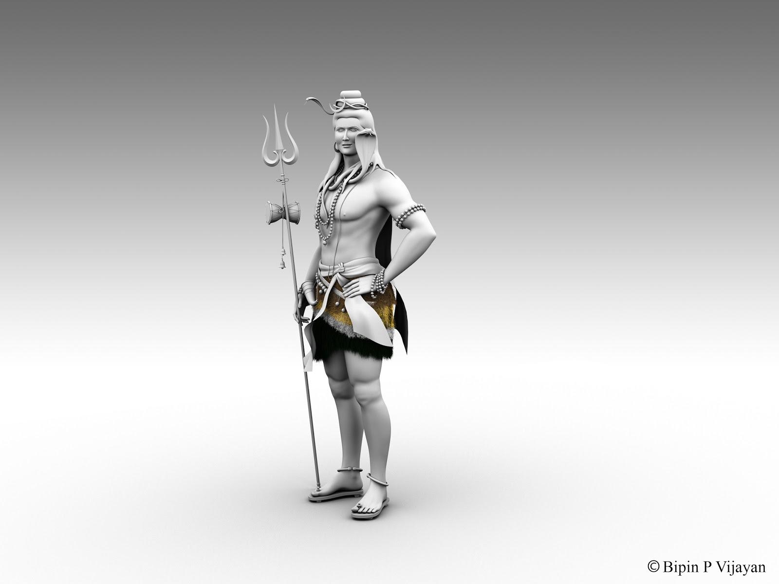 Bipin P Vijayan: 3D Model_Lord Mahadeva (Autodesk 3D Maya)