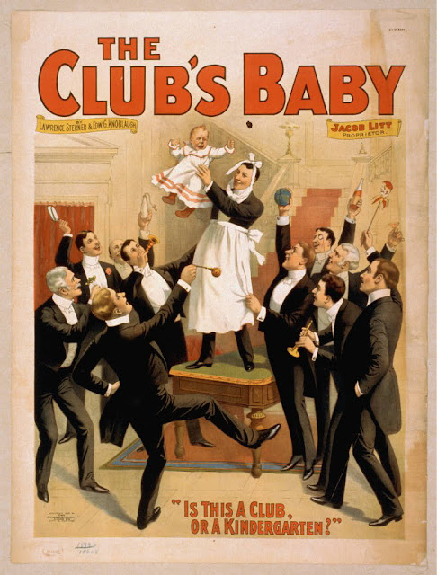 theater, movies, vintage, vintage posters, retro prints, classic posters, graphic design, free download, The Club's Baby, Is This a Club or a Kindergarten? - Vintage Theater Poster