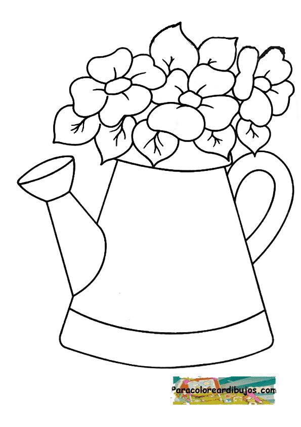 flores en regadera para colorear