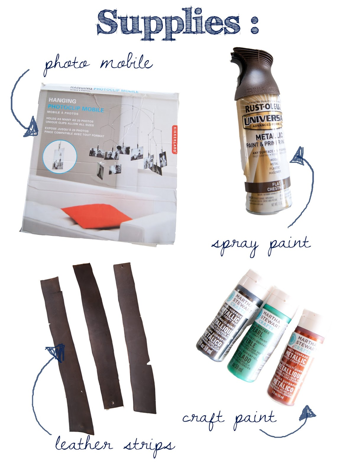 Supplies for DIY Leather Mobile