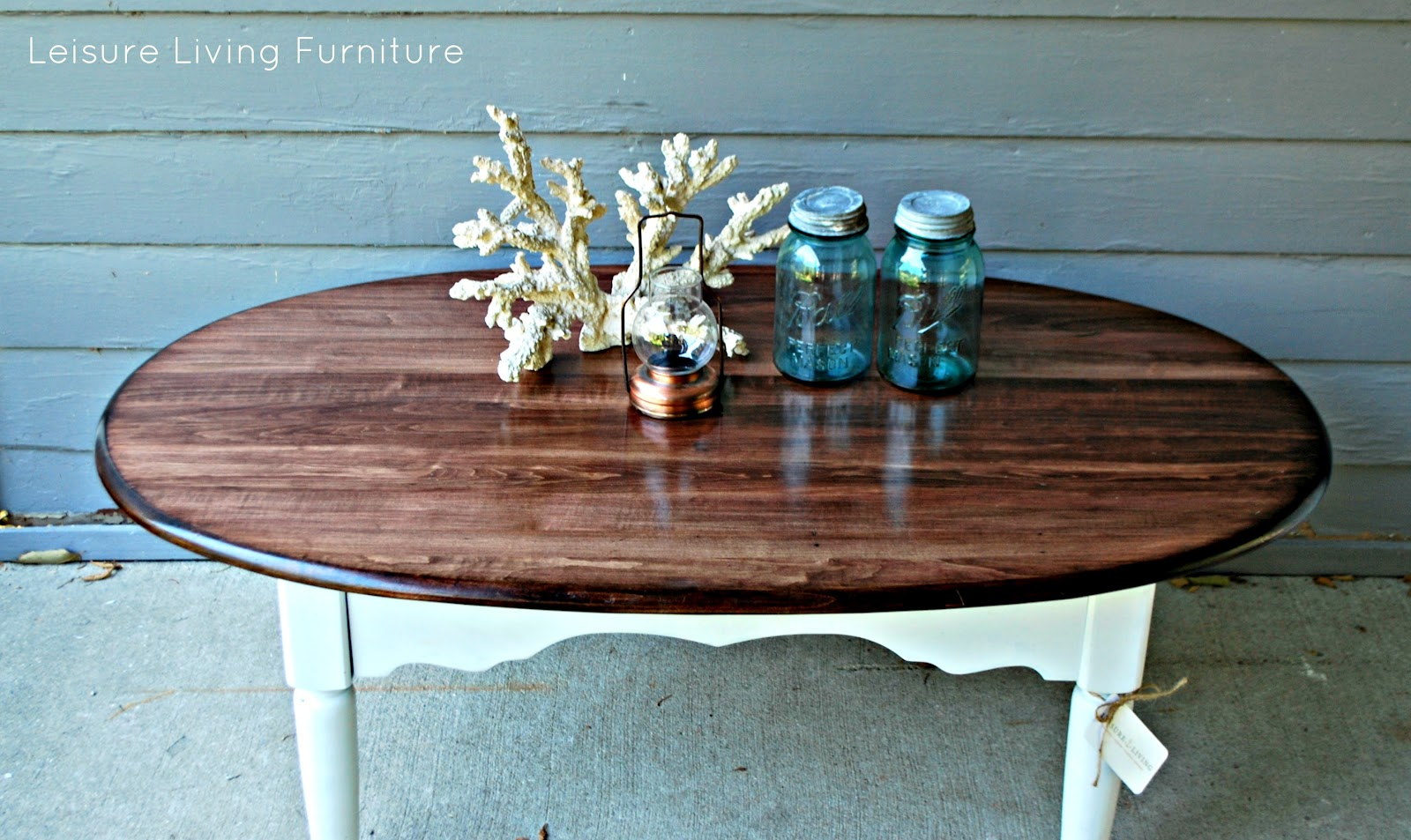 leisure living two toned coffee table